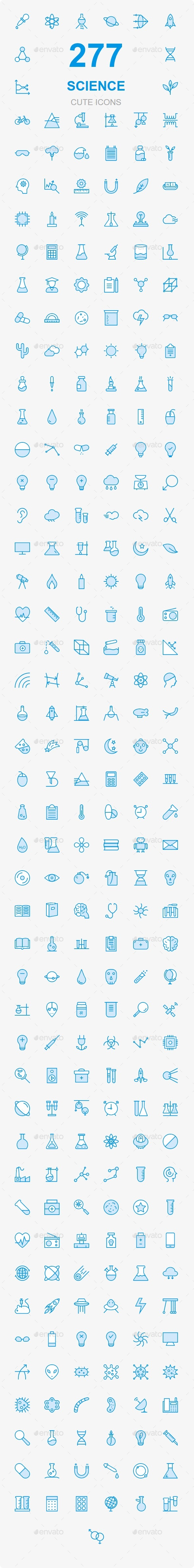 250+ Science cute icons - Web Icons