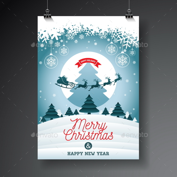 Merry Christmas Illustration with Typography and Ornament Decoration - Christmas Seasons/Holidays