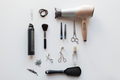 hairdryer, scissors and other hair styling tools