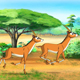Herd of Antelopes or Gazelles Runs Through Savannah