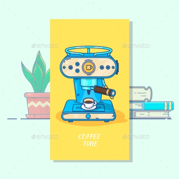 Coffee Machine with a Hot Coffee cup.Flat Thin - Food Objects