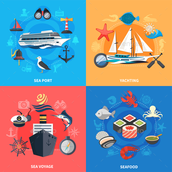Nautical Concept  Icons Set - Business Conceptual