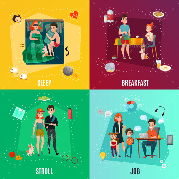 GraphicRiver Couple In Daily Routine Concept 20810315