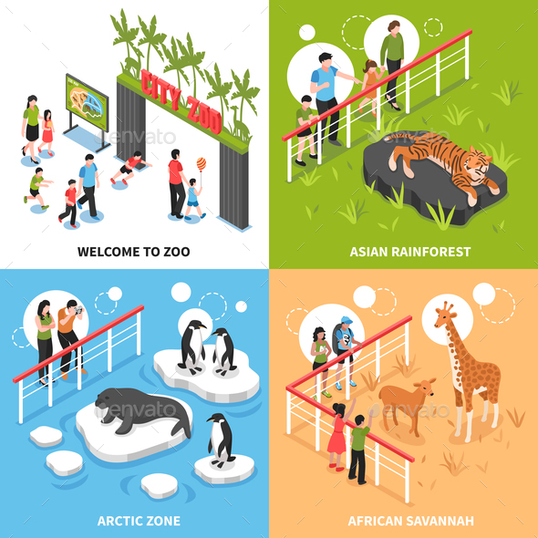 GraphicRiver Zoo 2x2 Isometric Design Concept 20810311