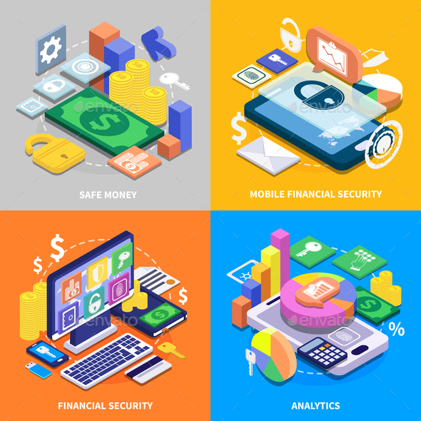 GraphicRiver Financial Security Isometric Set 20810321