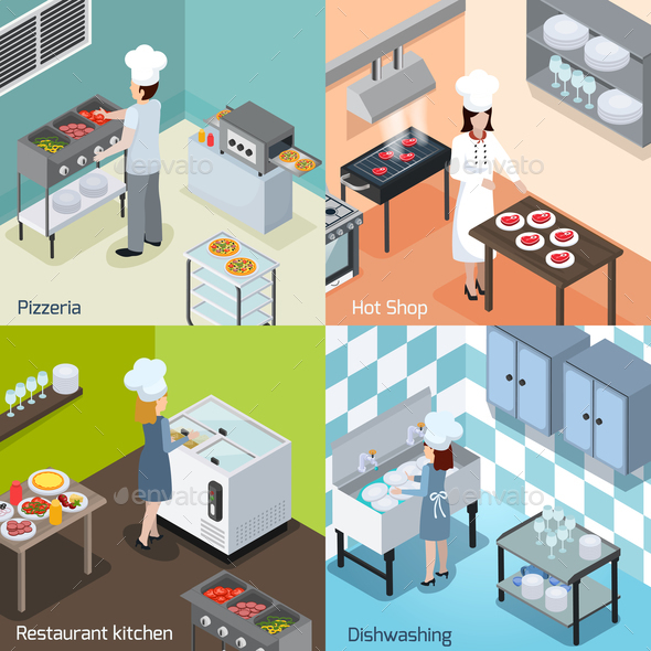 GraphicRiver Professional Kitchen 4 Isometric Icons 20810324