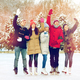 happy friends ice skating on rink outdoors - PhotoDune Item for Sale