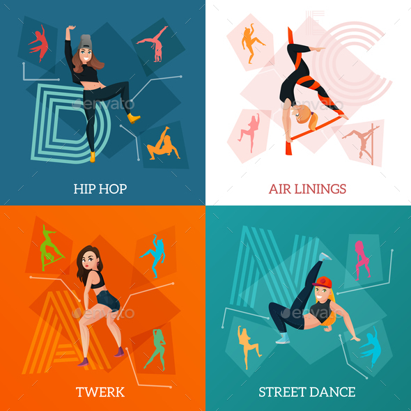 Modern Dance Types Concept - People Characters