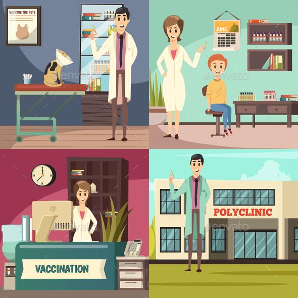 Compulsory Vaccination Orthogonal Icons Concept - Health/Medicine Conceptual