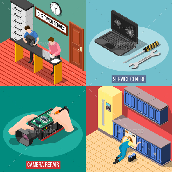 GraphicRiver Service Centre 2x2 Design Concept 20810332