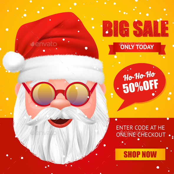 Santa Claus Christmas Sale Poster - Business Conceptual