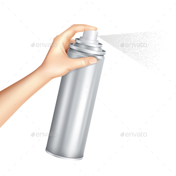 Hand Holding Spray Can Realistic - Miscellaneous Vectors