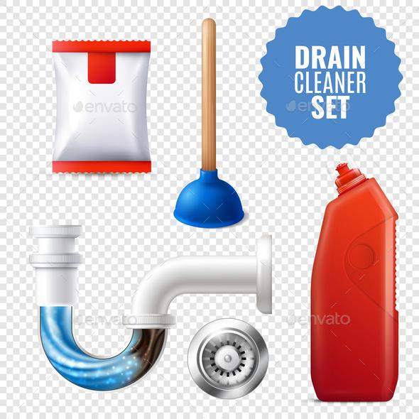 Drain Cleaner Transparent Icon Set - Miscellaneous Vectors
