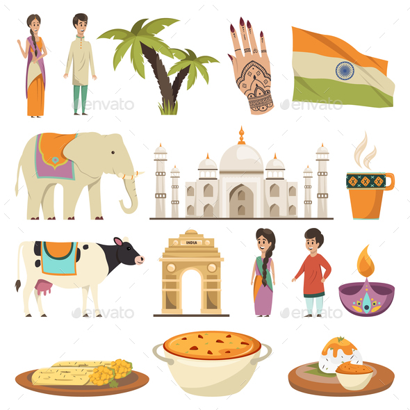 India Orthogonal Isolated Icons Set - Miscellaneous Vectors
