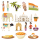 India Orthogonal Isolated Icons Set