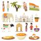 India Orthogonal Isolated Icons Set