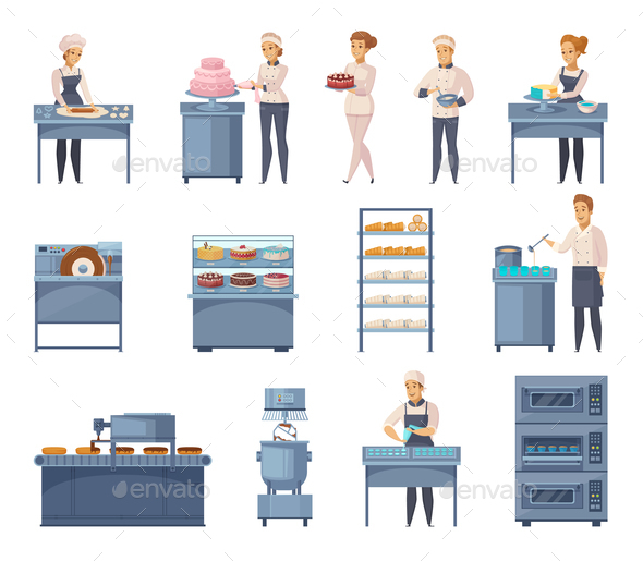 Confectionery Factory Cartoon Icons Set - Food Objects