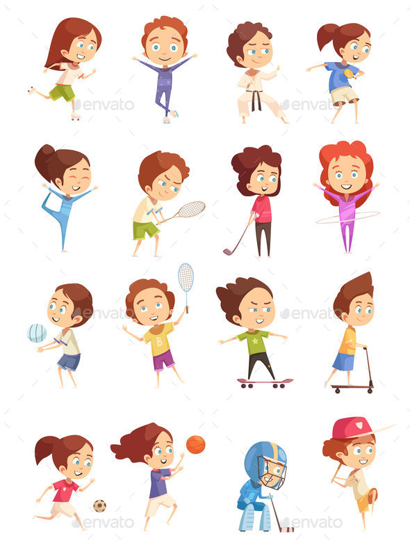 Kids Sport Decorative Icons Set - Sports/Activity Conceptual