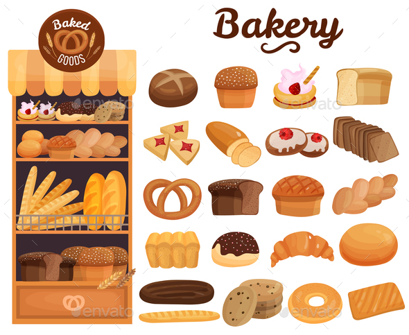 Bakery Products Set - Food Objects