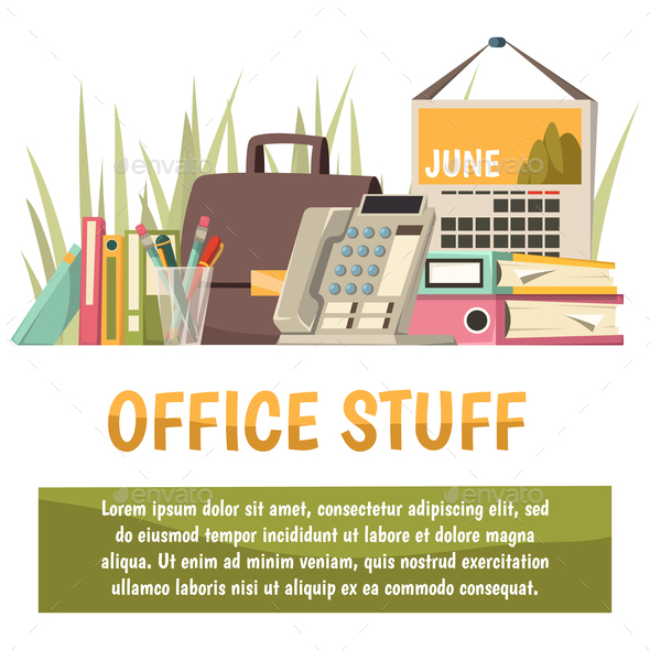 Office Flat Orthogonal Background - Business Conceptual
