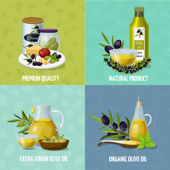 Olive Oil 4 Cartoon Icons - Food Objects