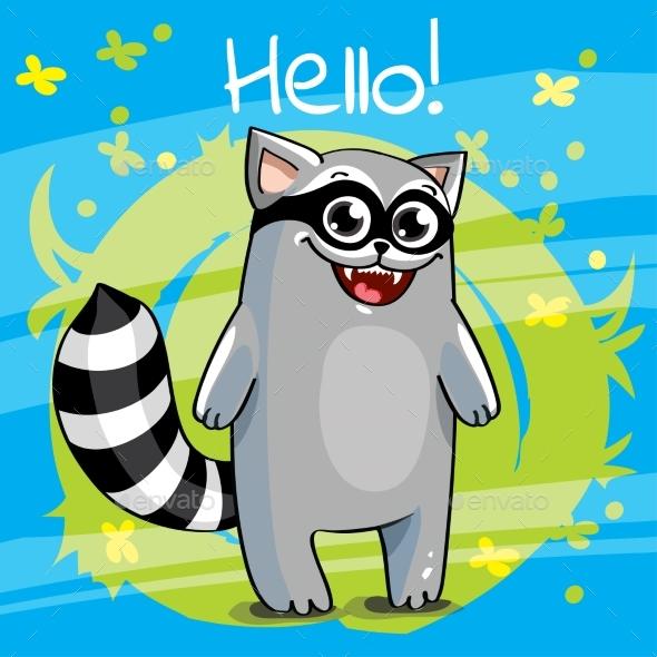 Vector Illustration of Cartoon Raccoon. - Animals Characters