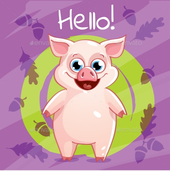 Vector Illustration of Cartoon Pig. Hello. - Animals Characters