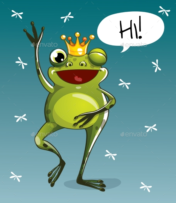 Vector Illustration of Cartoon Frog Prince. Hi. - Animals Characters