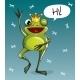 Vector Illustration of Cartoon Frog Prince. Hi.