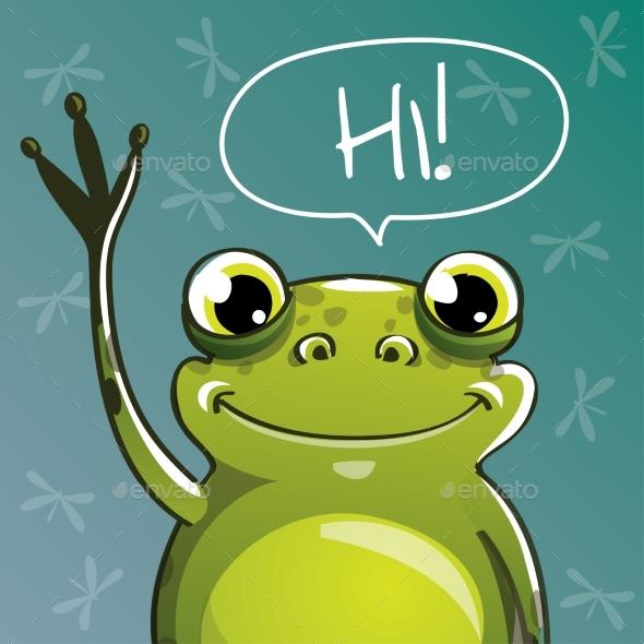 Vector Illustration of Cartoon Frog. Hi. - Animals Characters