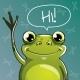 Vector Illustration of Cartoon Frog. Hi.