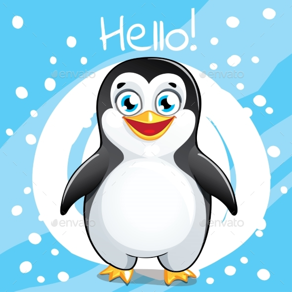 Vector Illustration of Cartoon Penguin. Hello. - Animals Characters