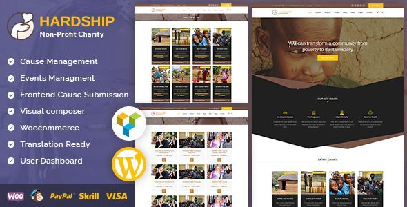 Image of Hardship Charity Donation | Nonprofit / Fundraising WordPress Theme