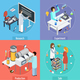 Pharmaceutical Production 4 Isometric Icons