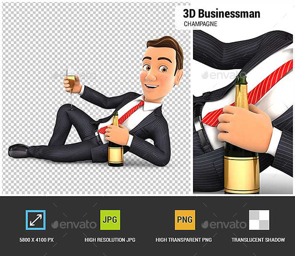 GraphicRiver 3D Businessman Lying on the Floor with Champagne 20810872