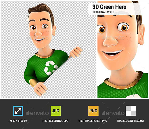 3D Green Hero Behind Diagonal Wall - Characters 3D Renders