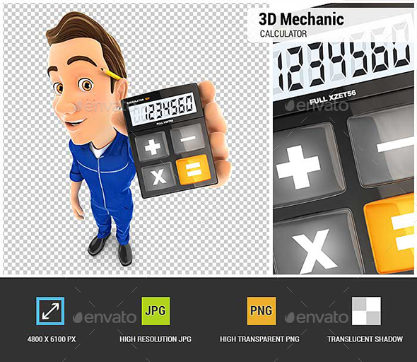 3D Mechanic Holding Calculator - Characters 3D Renders