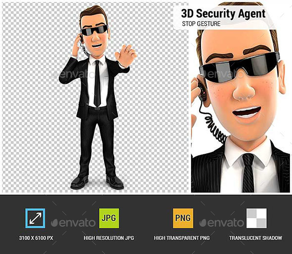 GraphicRiver 3D Security Agent Stop Gesture 20810892