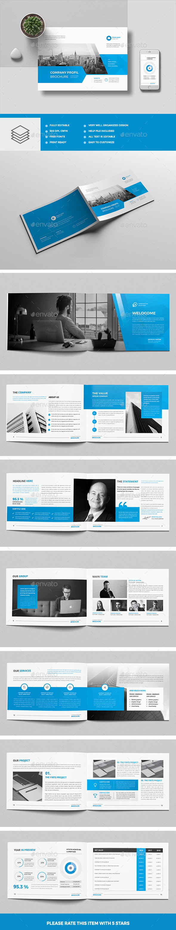 The Blue Corporate Brochure Landscape - Corporate Brochures