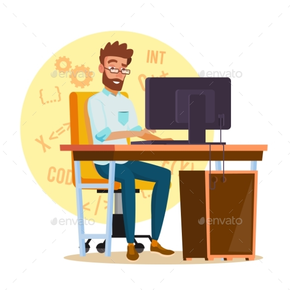 GraphicRiver Programmer Man Vector Stylized Young Developer 20810913