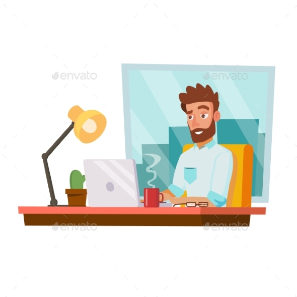 GraphicRiver Programmer Man Vector Development Working 20810921