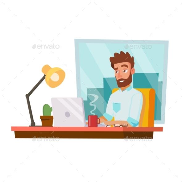 Programmer Man Vector. Development Working. - People Characters