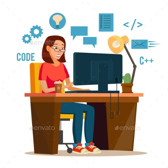 Programmer Woman Vector. Programmer Workspace - People Characters