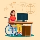 Disabled Woman Working Vector. Socialization
