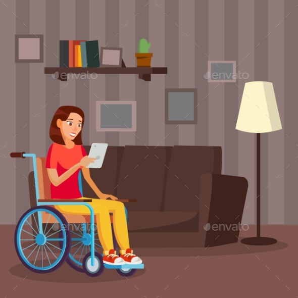 Disabled Woman Vector. Living With Disability - People Characters