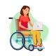 Disabled Woman Person Working Vector. Woman