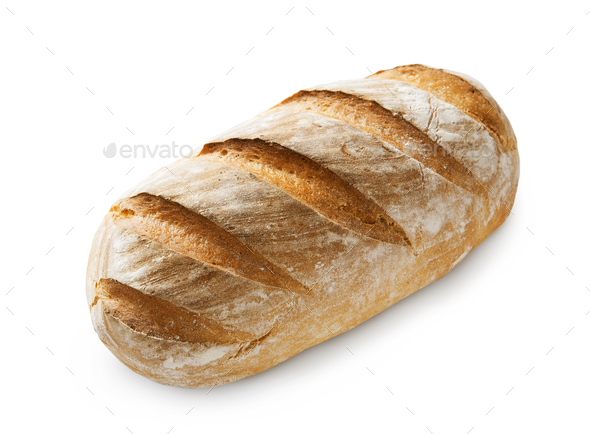Baguette loaf with checkered crust isolated - Stock Photo - Images