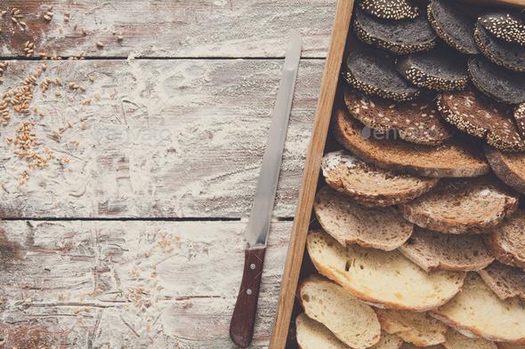 Bakery concept. Plenty of sliced bread background - Stock Photo - Images