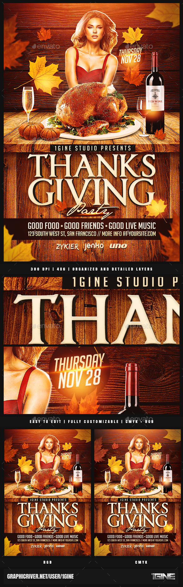 Thanksgiving Party Flyer Template 2 - Holidays Events