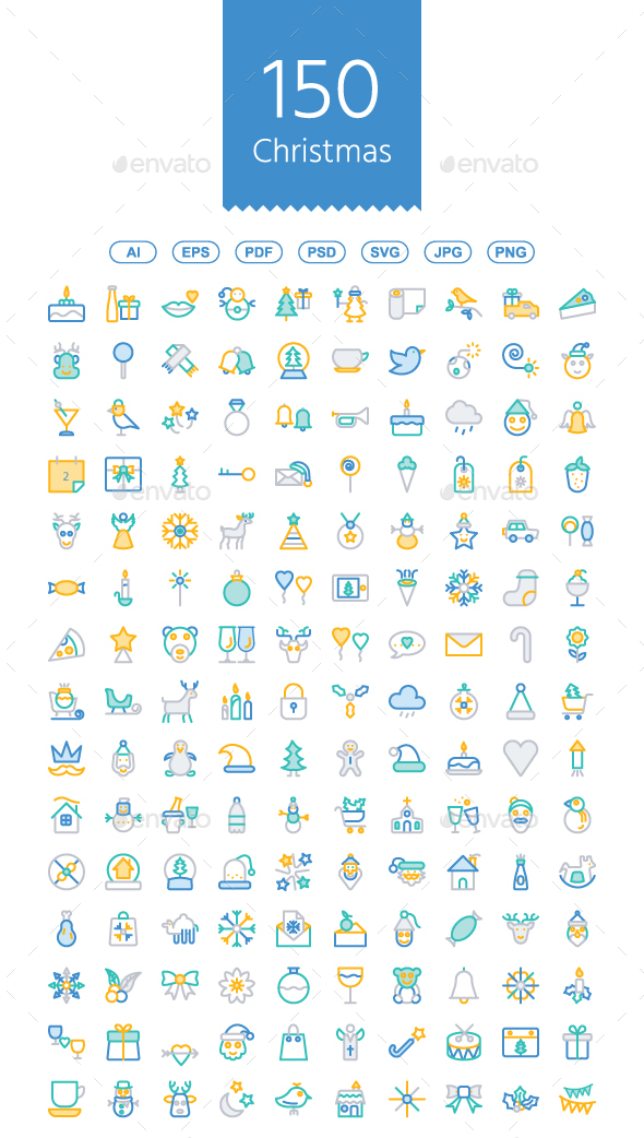 150 Christmas line color icons - Icons
